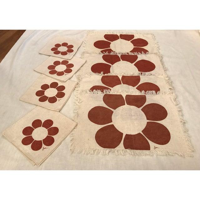 Vintage Floral Placemats & Napkins - Set of 8 For Sale - Image 10 of 10
