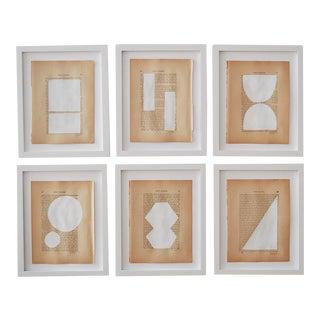 Josh Young Design House Blanc Géométrique Collection Paintings, 6 Pieces For Sale