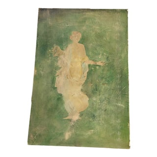 Woman With Flowers Pompeiian-Style Fresco For Sale