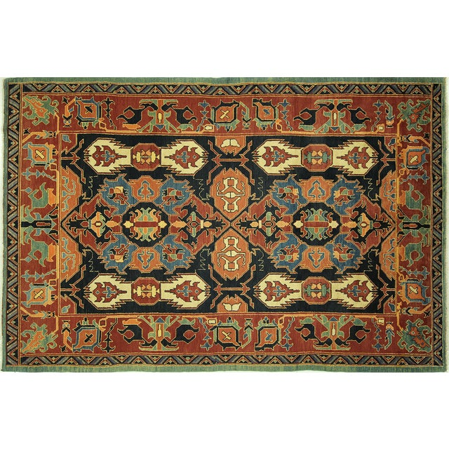 "Navy Chobi Hand Knotted Wool Rug - 6'6"" x 9'10"" - Image 1 of 9"