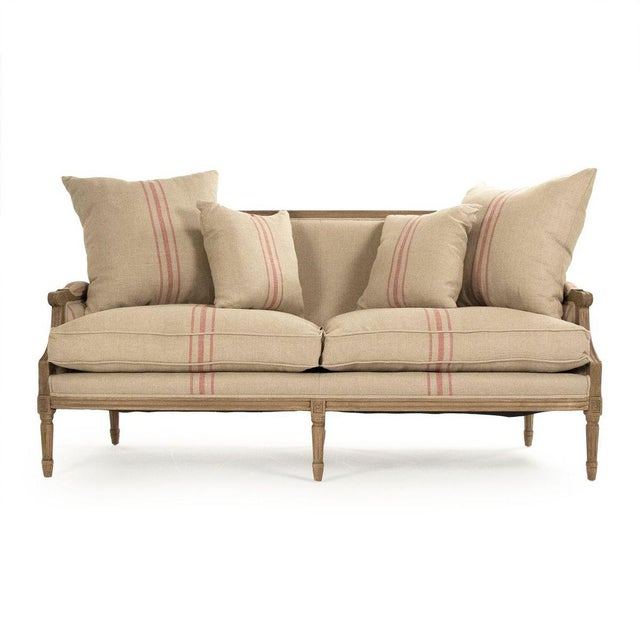 2020s Audley Sofa in Khaki Linen with Red Stripes For Sale - Image 5 of 5