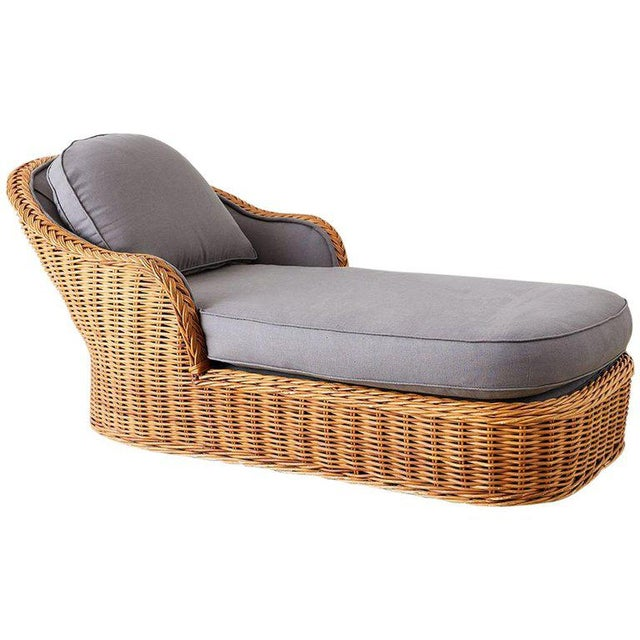 Michael Taylor Style Wicker Chaise Lounge For Sale - Image 13 of 13