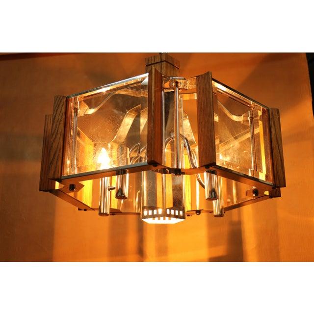 Mid 20th Century Fredrick Ramond Lighting Oak, Chrome and Glass Pendant Chandelier For Sale - Image 5 of 13
