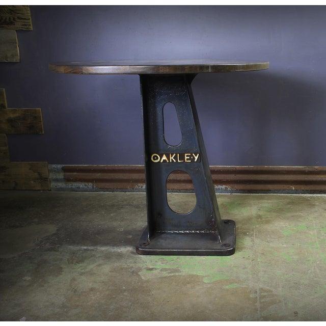 Industrial 1930s Vintage Cast Iron Machine Base Oak Pub Table For Sale - Image 3 of 6