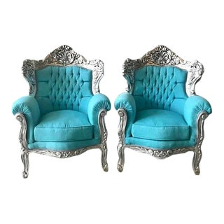 1950s Vintage Baroque Style Chairs Turquoise With Silver Frame - a Pair For Sale