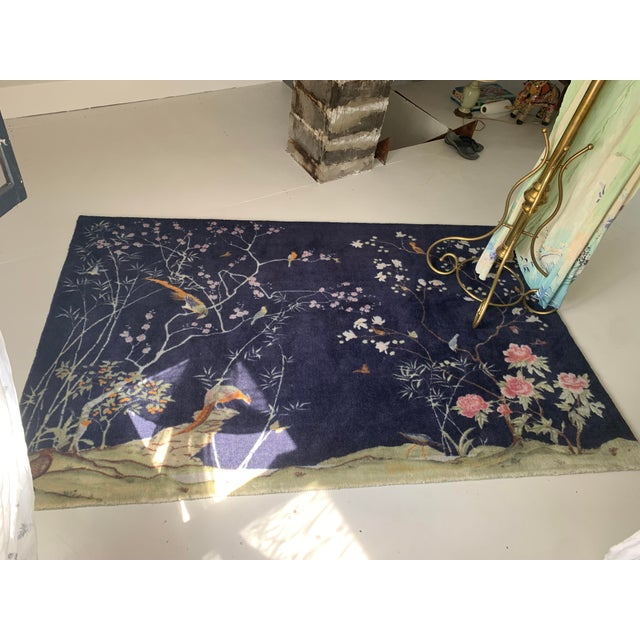 CB2 CB2 Chinoiserie Blue Rug For Sale - Image 4 of 5