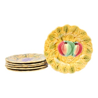 French Majolica Dessert Plates, S/6 For Sale