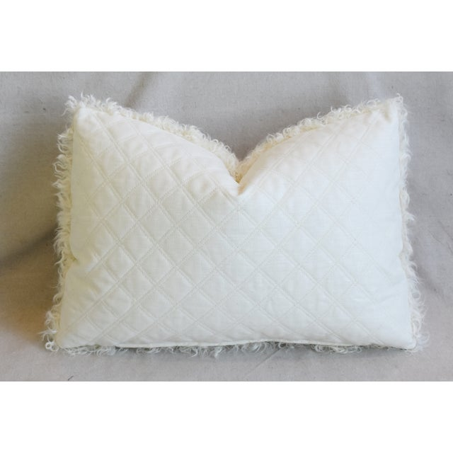 "Ivory Natural Kalgan Curly Lambswool Fur Pillows 21 X 15"" - Pair For Sale - Image 10 of 13"
