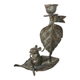 Bronze Taper Mouse on Leaf Candle Holder For Sale