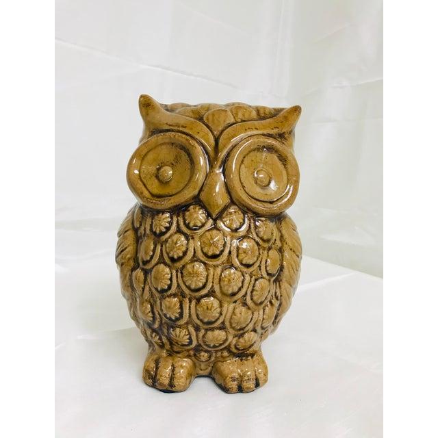 Ceramic 1970s Boho Chic Crackle Glaze Pottery Owl For Sale - Image 7 of 7