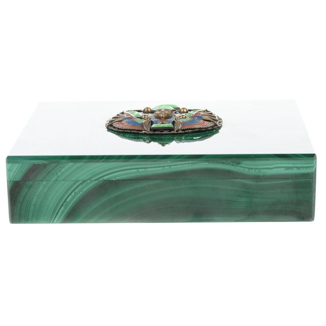 Malachite Box with Egyptian Emblem - Image 1 of 9