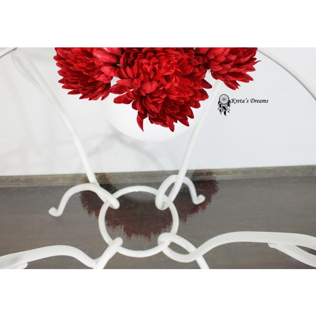 Vintage White Metal Iron Glass Dining Table For Sale - Image 6 of 8