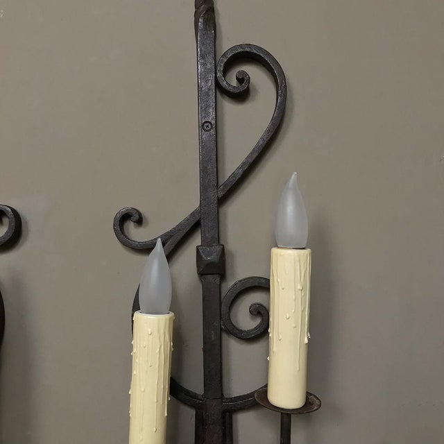 Rustic Pair Antique Rustic Wrought Iron Wall Sconces For Sale - Image 3 of 10
