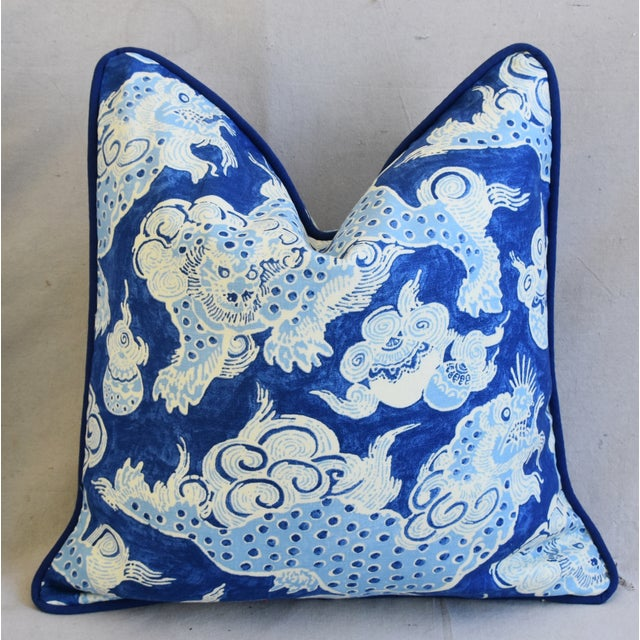 "Early 21st Century Blue & White Chinoiserie Dragon Feather/Down Pillows 22"" Square - Pair For Sale - Image 5 of 12"