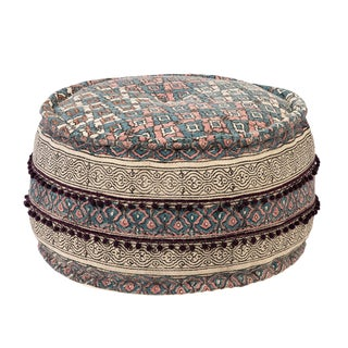Aria Round Printed Pouf For Sale