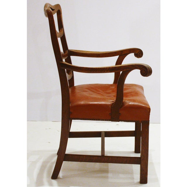 Country English Host Chair / Ladderback Arm-Chair With British Tan Saddle Leather Seat For Sale - Image 3 of 6
