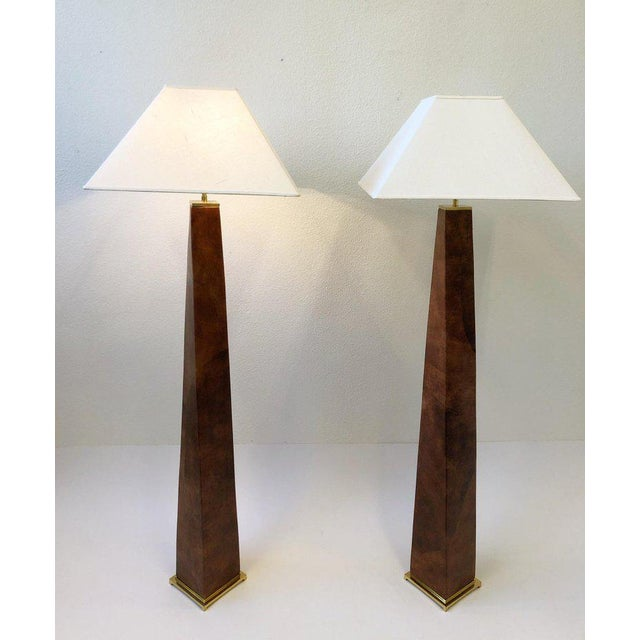 1970s 1980s Brass and Leather Floor Lamps by Karl Springer - a Pair For Sale - Image 5 of 10