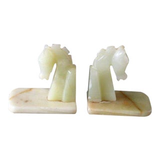 Vintage Hand Carved Onyx Marble Stone Horse Head Bookends - a Pair For Sale