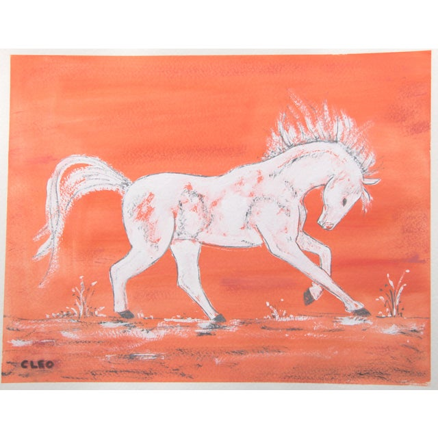 Cleo Plowden Horse Chinoiserie Painting by Cleo Plowden For Sale - Image 4 of 5