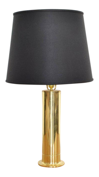 Incredible Hans Agne Jakobsson Brass Table Lamp With Black Shade