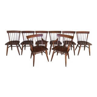 Mid Century Modern Willet Transitional Solid Cherry Dining Chairs - Set of 8 For Sale