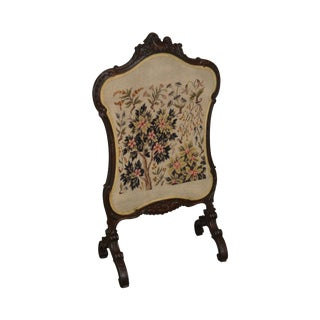 Antique Victorian Rococo Revival Carved Walnut Needlepoint Fire Screen For Sale
