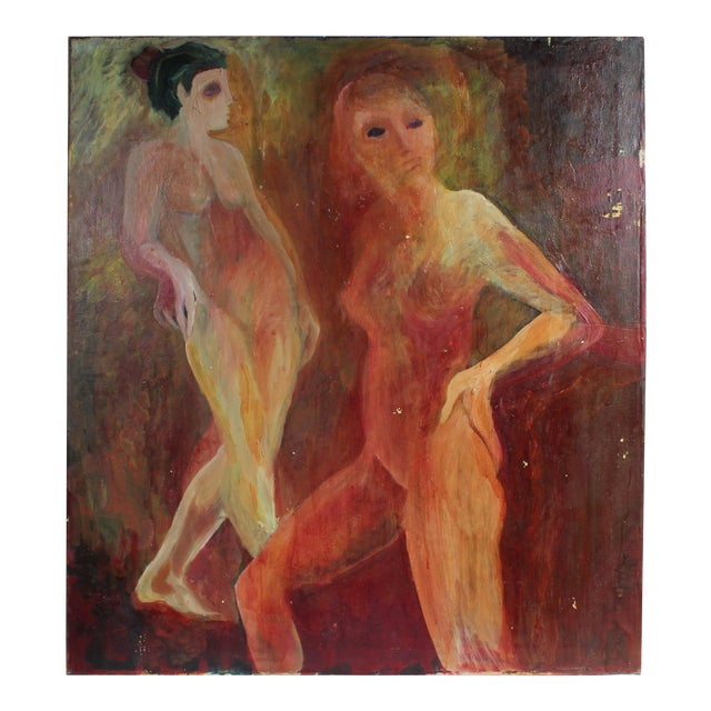 Modernist Nude Figures, Oil on Canvas, Circa 1977 For Sale