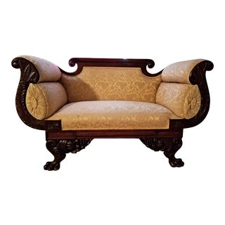 19th Century American Empire Mahogany Settee For Sale