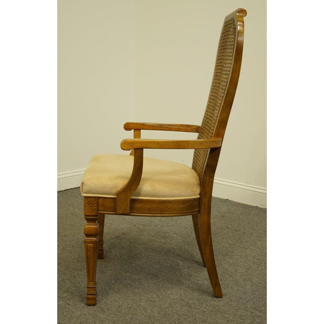 Late 20th Century Bernhardt Furniture Italian Provincial Cane Back Dining Arm Chair For Sale In Kansas City - Image 6 of 11