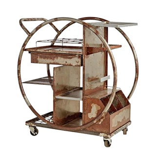 Rusted Steel Art Deco Bar Cart