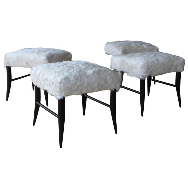 White Croft Stool in Cowhide by Hollywood at Home For Sale - Image 8 of 8