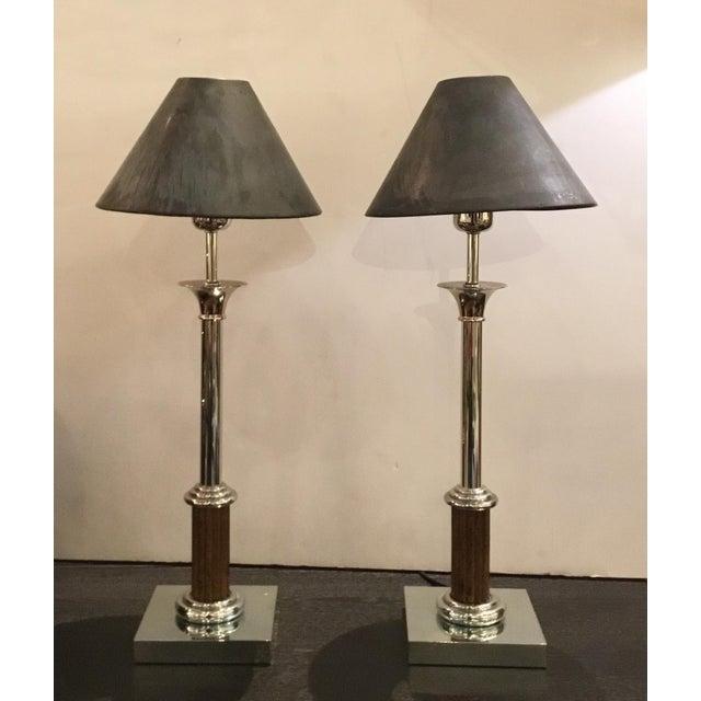 Metal Classical Vintage Industrial Metal Bloomingdale's Table Lamps Pair For Sale - Image 7 of 9