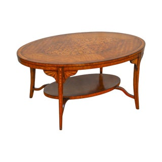 French Regency Style Marquetry Inlaid Oval Satin Wood Coffee Table