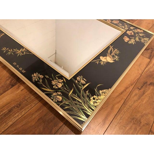 Asian La Barge Églomisé Hand Painted Beveled Mirror For Sale - Image 3 of 11