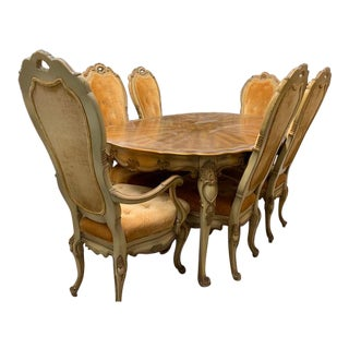 Antique Italian Rococo Style Dining Set - 7 Pieces For Sale