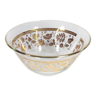 1950s Hollywood Regency Georges Briard Culver Ltd. 22k Gold Decorated Glass Bowl, Signed For Sale