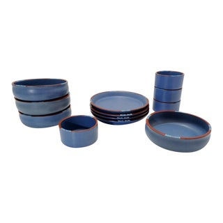 Dansk Mesa Sky Blue Bowl Plates Ramekins Dinnerware Set For Sale