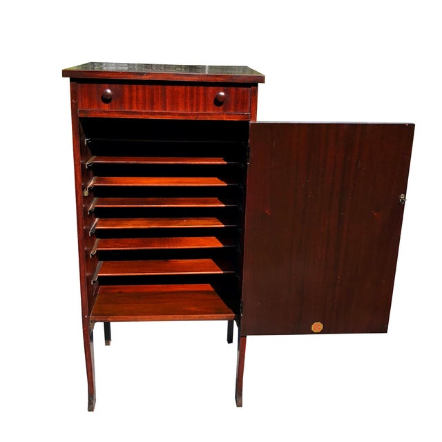 Antique Mahogany Empire Sheet Music Vinyl Record Cabinet by Udell Works For Sale - Image 4 of 12