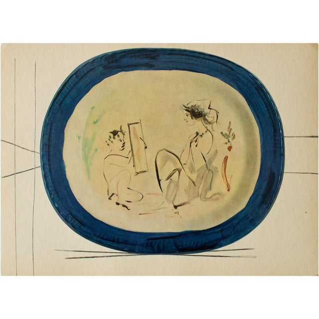 1955 Pablo Picasso Satyr and Young Woman Ceramic Plate, Original Period Swiss Lithograph For Sale In Dallas - Image 6 of 6