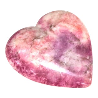 1970s Pink Marble Heart Paper Weight For Sale