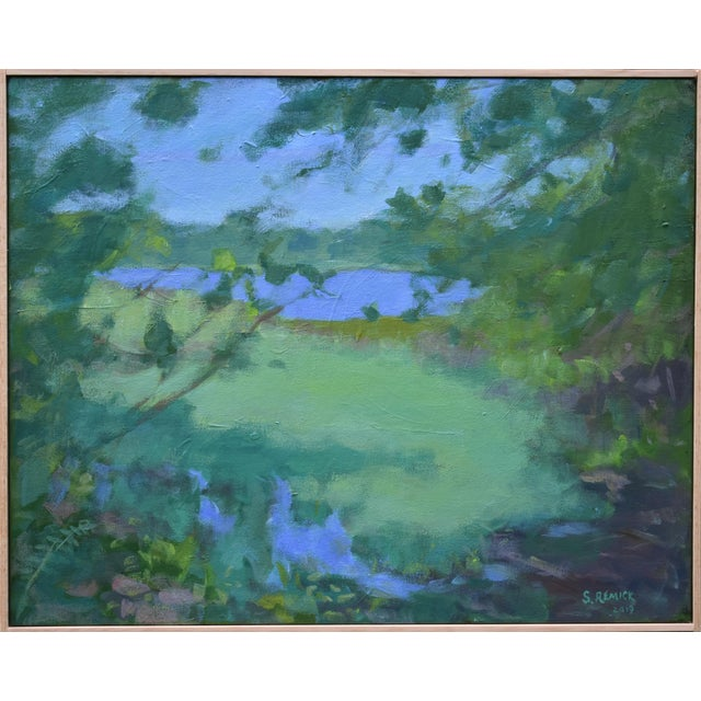 """Stephen Remick """"Ocean Through the Trees"""" Contemporary Plein Air Painting For Sale"""