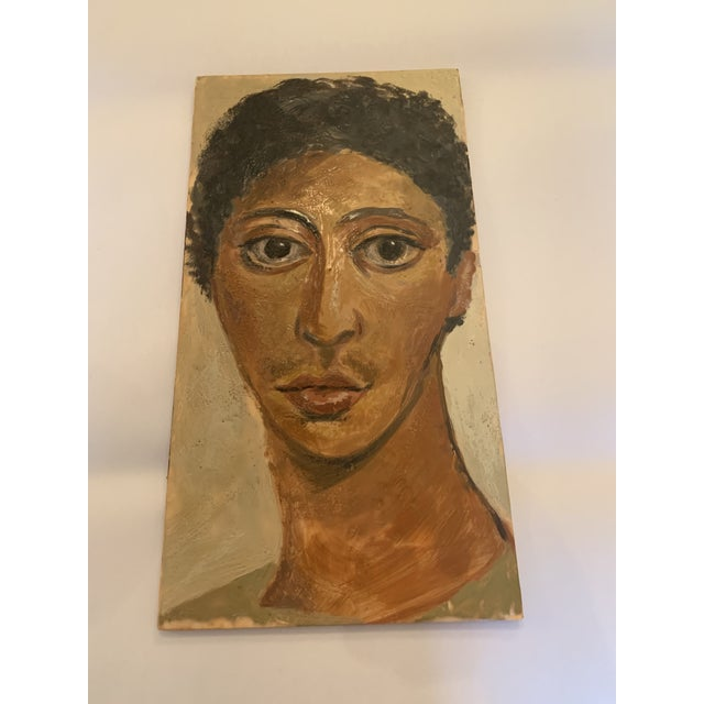 1980s Portrait of Woman Painting on Wood For Sale - Image 5 of 5