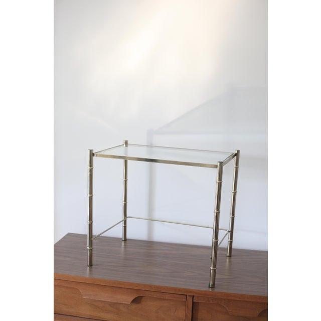 Vintage Brass Faux Bamboo Side Table - Image 7 of 7