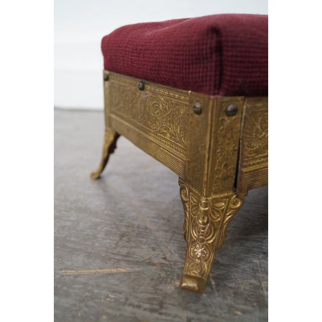 Victorian Aesthetic Brass Footstools, Attributed to Charles Parker- A Pair For Sale In Philadelphia - Image 6 of 10