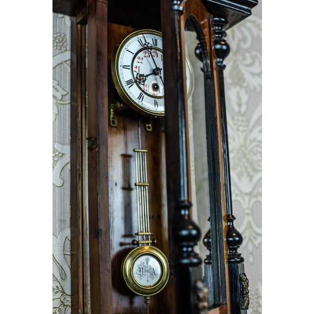 Brown 19th-Century Wall Clock With Carvings For Sale - Image 8 of 13