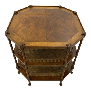 Late 20th Century Baker Furniture Mahogany & Cane Side Table For Sale