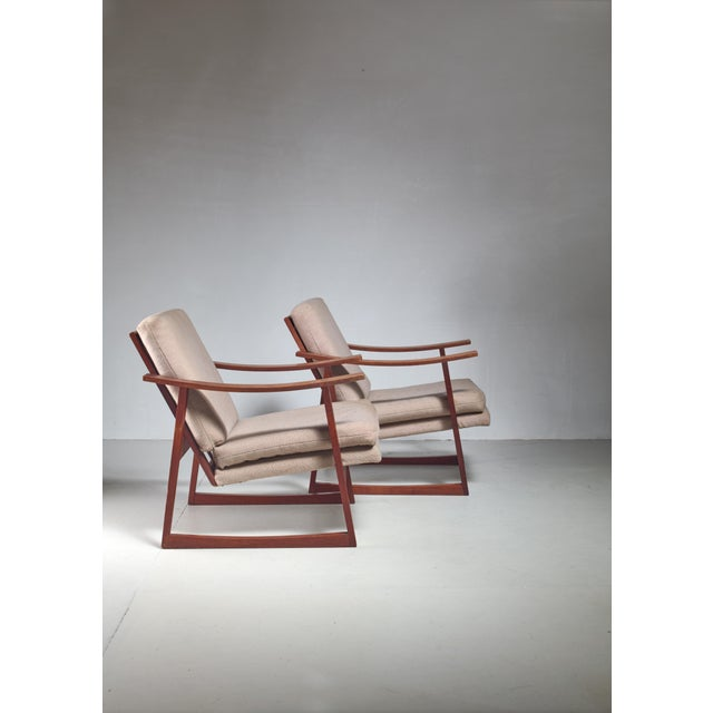 Mid-Century Modern Pair of Danish teak lounge chairs, 1960s For Sale - Image 3 of 4