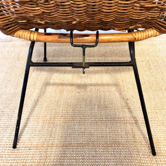 Tan Mid Century Italian Rattan & Sculpted Bamboo Boho Chic Chair For Sale - Image 8 of 12