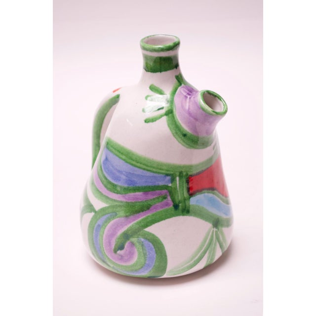 "DeSimone Hand Painted Italian Ceramic ""Bird"" Pitcher / Wine Decanter by Desimone For Sale - Image 4 of 13"