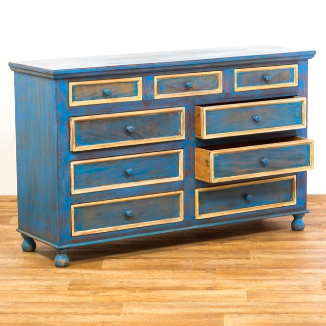 Reclaimed Peroba Rosa Wood Distressed Blue Chest of Drawers/Dresser - Image 5 of 8